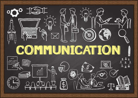 Business doodles about communication on chalkboard. Vettoriali
