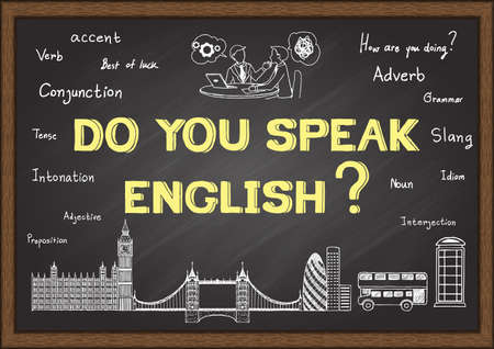 in english: Doodles with phrase do you speak English  on chalkboard.