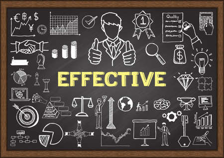 excellence: Business doodles about effective on chalkboard.