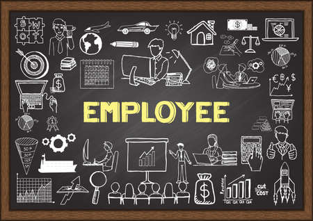 Business doodles about employee on chalkboard. Stok Fotoğraf - 43470086