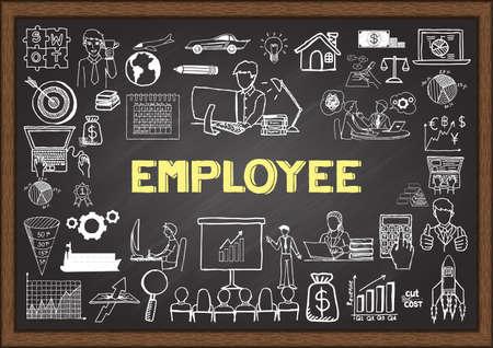 relaciones laborales: Garabatos de negocio sobre los empleados en la pizarra.