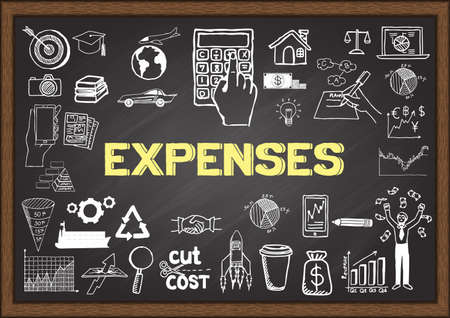 Doodles about expenses on chalkboard. Çizim