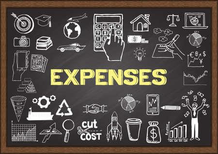 gastos: Doodles sobre los gastos en la pizarra.