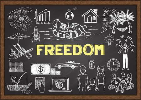 Doodles over vrijheid op bord.