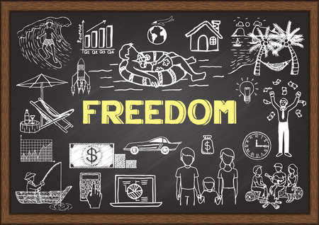 Doodles about freedom on chalkboard.