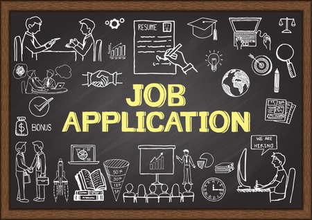 weaken: Business doodles about job application on chalkboard. Illustration