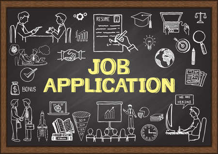 Business doodles about job application on chalkboard. Illustration