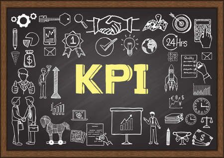 Business doodles about KPI on chalkboard.