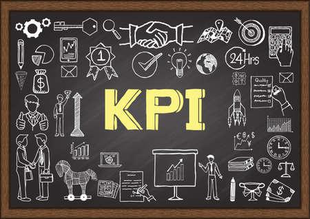 Business doodles about KPI on chalkboard.