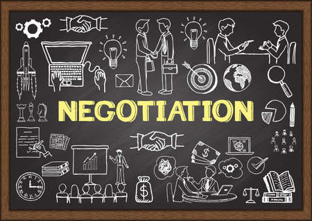 about: Business doodles about negotiation on chalkboard.