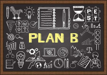 hacer: Doodle de negocios sobre el plan B en la pizarra. Vectores