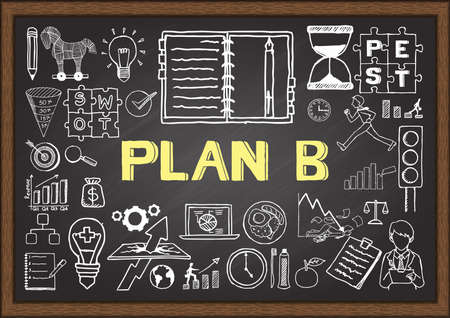 Business doodle about plan B on chalkboard.
