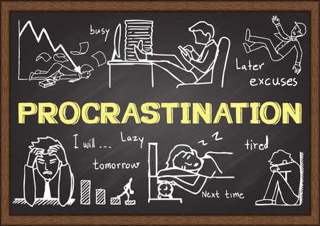 procrastination: Doodles about procrastination on chalkboard. Illustration