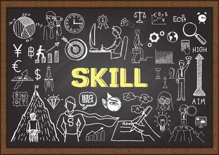 advance: Business doodles about skill on chalkboard. Illustration
