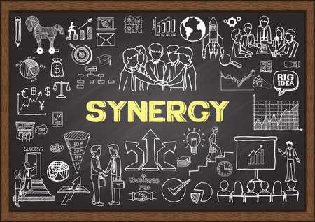 sinergia: Doodles sobre SYNERGY en la pizarra.