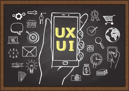 hands on keyboard: Doodles about UX UI on chalkboard. Illustration