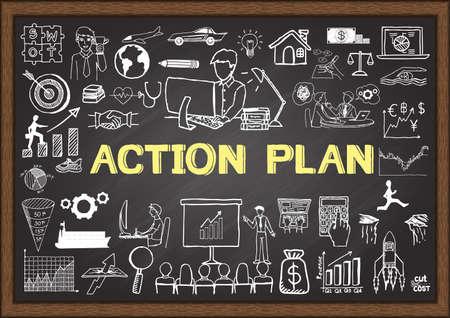 in action: Dibujado a mano plan de acción en la pizarra. Garabatos de negocios.