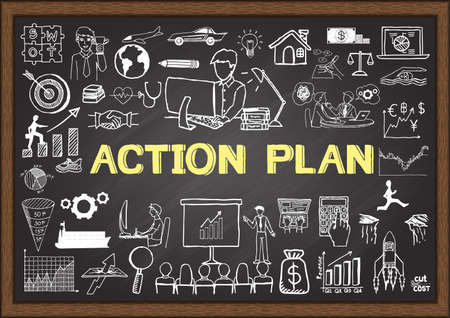 in action: Hand drawn action plan on chalkboard. Business doodles.