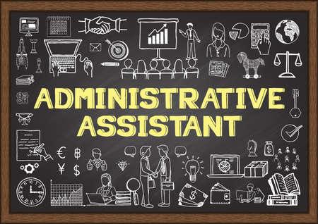 Bedrijfskrabbel over administratief medewerker op schoolbord.