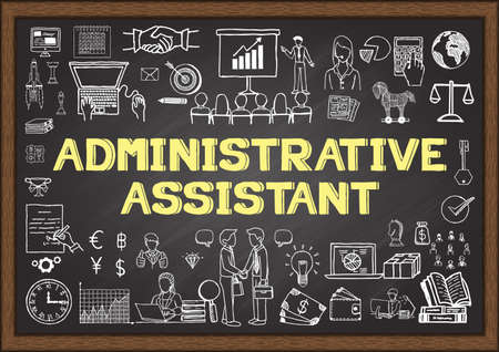Business doodle about administrative assistant on chalkboard. Çizim