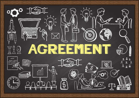 bilateral: Doodles about agreement on chalkboard. Illustration