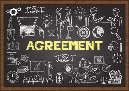 Doodles about agreement on chalkboard. Illustration