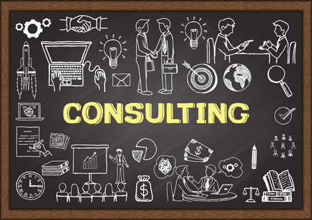 Business doodles about consulting on chalkboard. Illusztráció