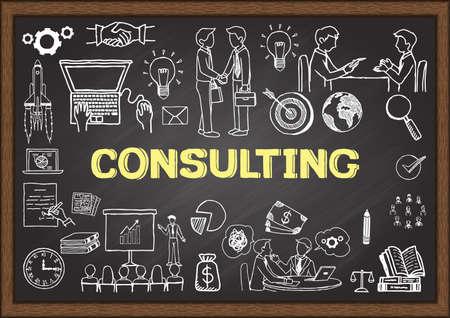 Garabatos de negocios acerca de la consulta en la pizarra. Foto de archivo - 43470198