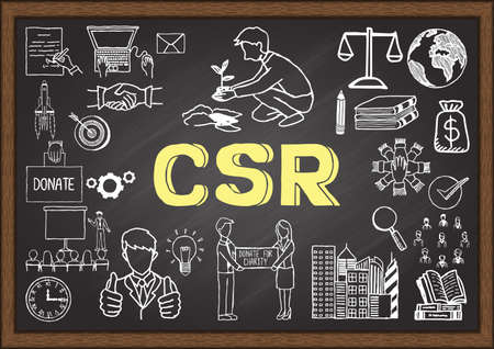 Doodles about CSR on chalkboard. Vectores