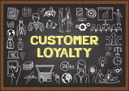 Doodles sobre la lealtad del cliente en la pizarra. Ilustración de vector