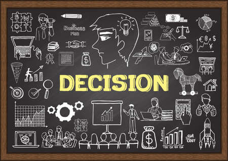 Business doodles about decision on chalkboard.