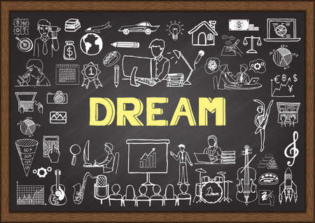 about: Business doodles about people dreams on chalkboard.