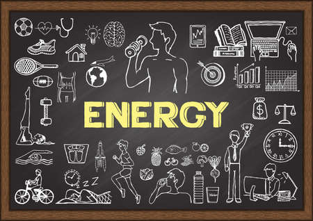 care about the health: Doodles about energy on chalkboard.. To get things done , we need enough energy to drive our day. Take care your health first to achieve more and be more in life.