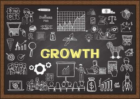 crecimiento: Garabatos de negocio sobre el crecimiento en la pizarra. Vectores