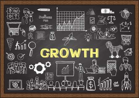 Business doodles about growth on chalkboard. Vettoriali