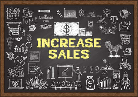 increase sales: Business doodles about increase sales on chalkboard.