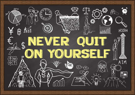 Doodles about NEVER QUIT ON YOURSELF on chalkboard.