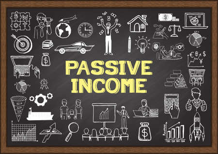 income market: Business doodles about passive income on chalkboard.