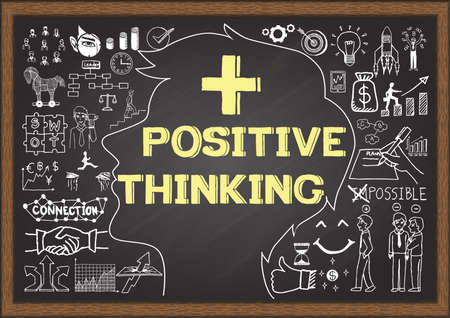 idealistic: Business doodles on chalkboard with the concept of positive thinking.