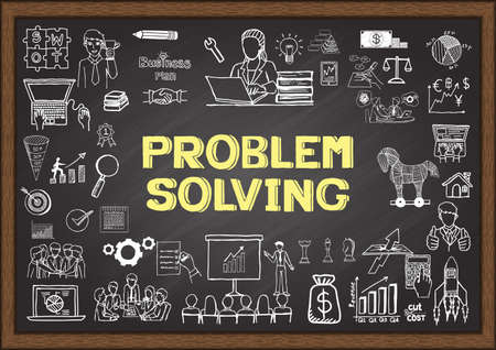 solve problem: Business doodles about problem solving on chalkboard.