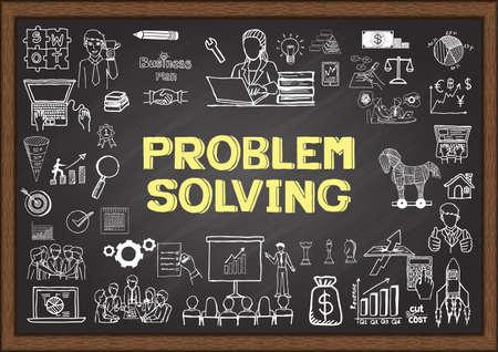 Scarabocchi commerciali circa la soluzione dei problemi sulla lavagna. Archivio Fotografico - 43470235