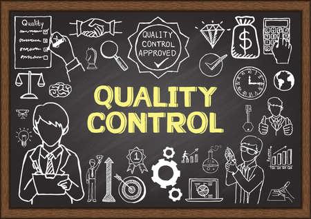 control de calidad: Doodles sobre Control de calidad en la pizarra. Vectores