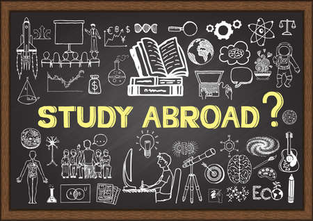 studies: Doodles about study abroad on chalkboard.