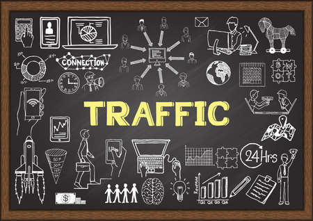 website traffic: Business doodles about Web traffic on chalkboard. Illustration