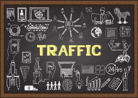 Business doodles about Web traffic on chalkboard. Illustration