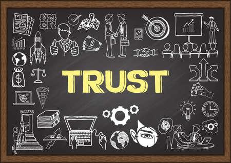 Doodles o zaufanie na tablicy szkolnej. Ilustracje wektorowe