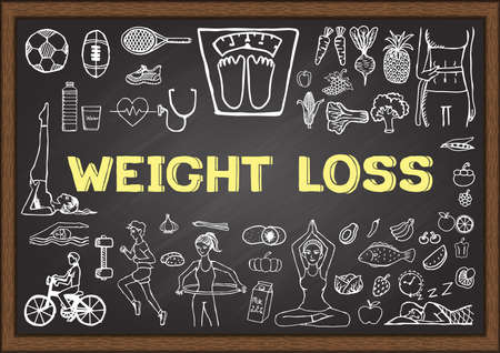 hand weight: Doodles about WEIGHT LOSS on chalkboard.