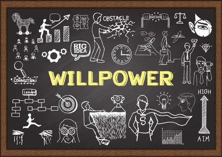 willpower: Doodles circa forza di volont� sulla lavagna. Vettoriali
