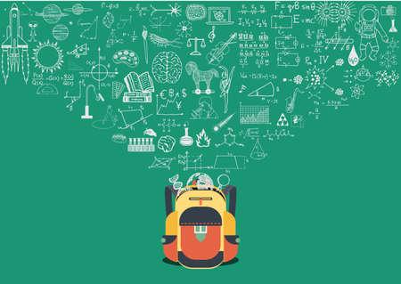 Kennis doodle stroomt in school terug Stock Illustratie