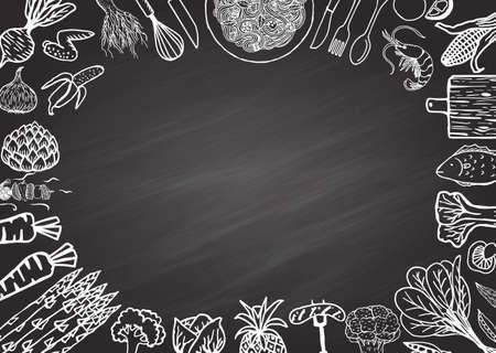 table with food: Restaurant menu on chalkboard